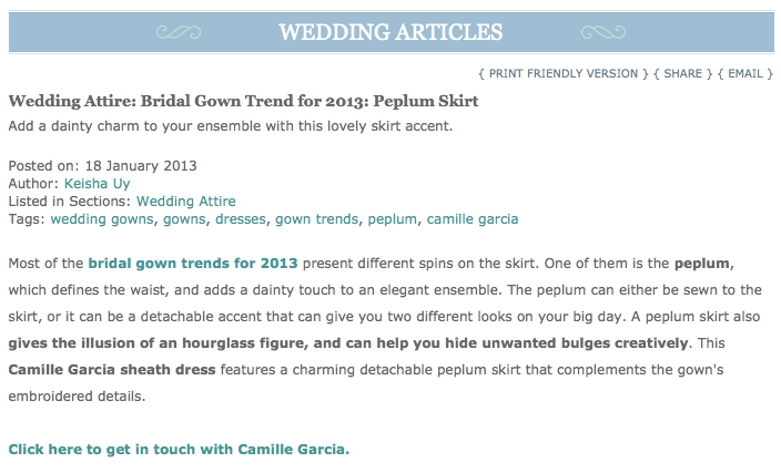 Camille Garcia Peplum Wedding Dress
