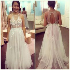 White and nude colored prom dress. The skirt is made of tulle while the top features illusion detail.