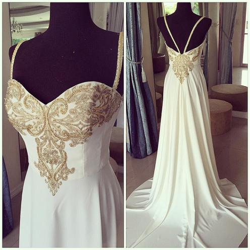 Second look. White and gold debutante dress.