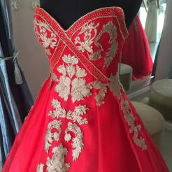 Red gown with gold brocade for debut / 18th birthday party.