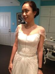 Embellished a-line wedding dress. with geometric bead work for a clean, modern touch.